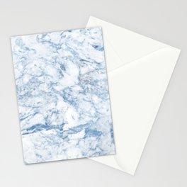 Modern stylish blue white trendy marble pattern Stationery Cards