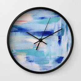 Electric blue waves: minimal, acrylic abstract painting in cobalt, cyan and peach / Variation Two Wall Clock