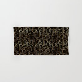 Hexagonal Columns \\ Black & Gold Hand & Bath Towel