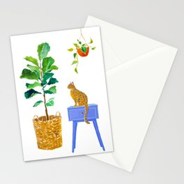 Fiddle Leaf Fig and Cat Stationery Cards