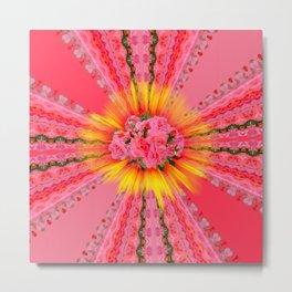 Coral Pink Roses Metal Print