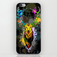 popart iPhone & iPod Skins featuring Deer PopArt Dripping Paint by BluedarkArt