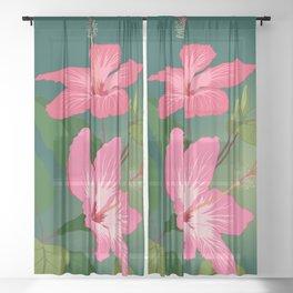 Colorful Hummingbird on Hibiscus Flower Sheer Curtain