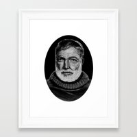 hemingway Framed Art Prints featuring Hemingway by bepy