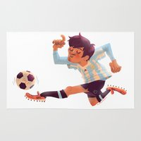 argentina Area & Throw Rugs featuring Lionel Messi, Argentina Jersey by Mike Laughead