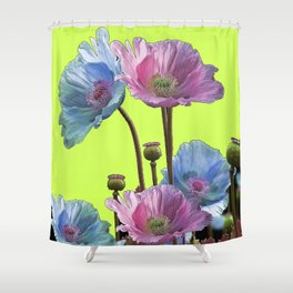 AWESOME PINK & BLUE POPPY GREEN  GARDEN FLOWERS Shower Curtain