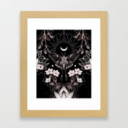 Bohemian Luna Moth On Black Framed Art Print