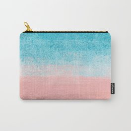 Pink Sea & Turquoise Landscape_Brush Strokes Abstract Horizon Carry-All Pouch