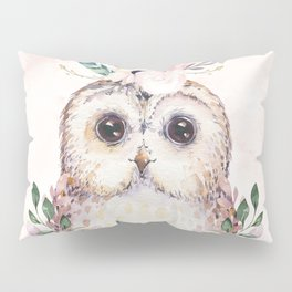 Forest Owl Floral Pink by Nature Magick Pillow Sham