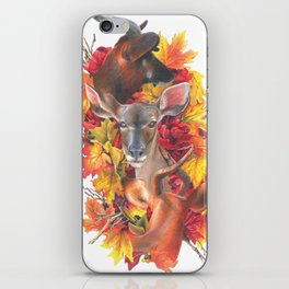 Deer and Fall Leaves Collage iPhone Skin