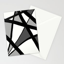 Geometric Line Abstract - Black Gray White Stationery Cards