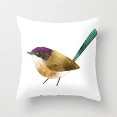 Purple-Crowned Fairy Wren Throw Pillow