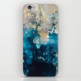 Timeless: A gorgeous, abstract mixed media piece in blue, pink, and gold by Alyssa Hamilton Art iPhone Skin
