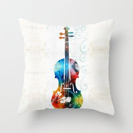 Colorful Violin Art by Sharon Cummings Throw Pillow
