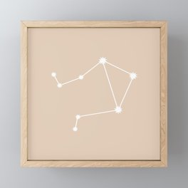 Libra Zodiac Constellation - Warm Neutral Framed Mini Art Print