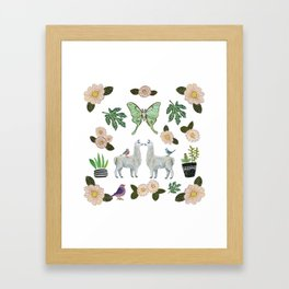 Llama and Luna Moth Framed Art Print