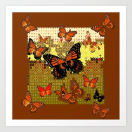 Coffee Brown Abstracted Black & Orange Monarch Butterflies Art Print