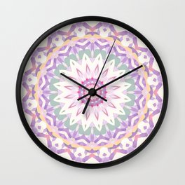 Calypso Mandala in Pastel Pink, Purple, Green, and White Wall Clock