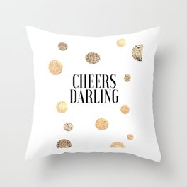 CHEERS DARLING GIFT, Wedding Quote,Anniversary Print,Gold Confetti,Cheers Sign,Champagne Quote,Celeb Throw Pillow
