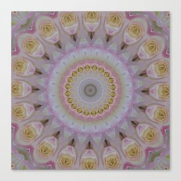 Mandala Of Yellow Roses Canvas Print