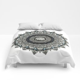 Black and White Flower Mandala with Blue Jewels Comforters