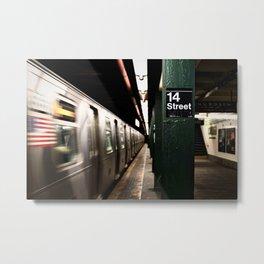 Speeding Subway Train Metal Print