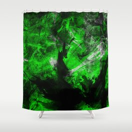 Emerald Blast - Abstract Black And Green Painting Shower Curtain