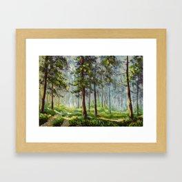 Original acrylic painting Walk in the sunny forest. Colorful illustration. Artwork fine art. Framed Art Print