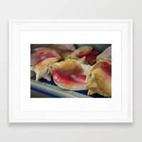 stickers Framed Art Prints featuring Conch shells with stickers by Saucy Magazine