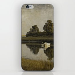 Boat at Dusk with Olive Gold and Gray iPhone Skin