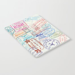 Vintage World Map with Passport Stamps Notebook