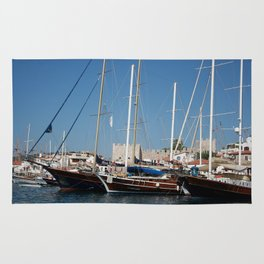 Traditional Turkish Gulets In Marmaris Harbour Rug