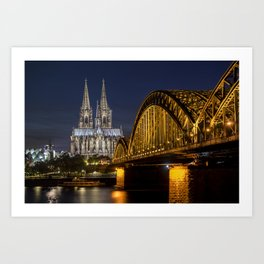 Cologne by night Art Print