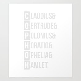 Hamlet Shakespeare Character List T-Shirt Art Print