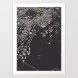 Tokyo city map Art Print