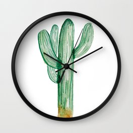 Saguaro Cactus Watercolor Art Hand Painted Wall Clock