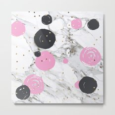 Abstract marble and painting with gold Metal Print