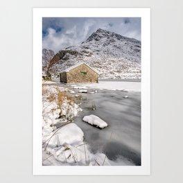 Frozen Lake Snowdonia Art Print