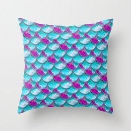 Mermaid Scales   Fluid Acrylic & Glitter Throw Pillow