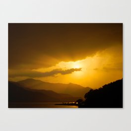 Lake Phewa Sunset, Lakeside, Pokhara, Nepal Canvas Print