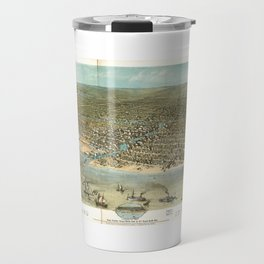 Chicago in 1868 from Schiller Street north side to 12th Street south side Travel Mug