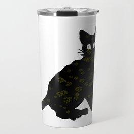 autumn black cat sketch Travel Mug