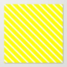 Neon Yellow Diagonal Stripes Canvas Print