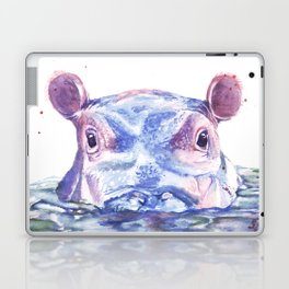 Happy Hippo Watercolor Painting Laptop & iPad Skin