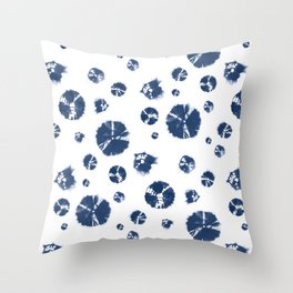 Shibori Polka Splotch Indigo Blue Throw Pillow