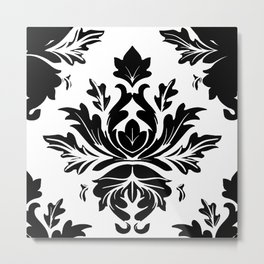 Damask White and Black Paisley Damask Metal Print