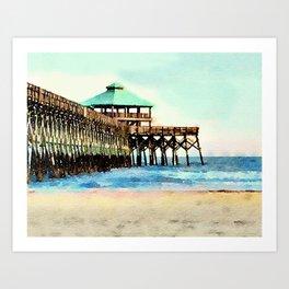 Folly Beach Pier - Folly Beach, SC - Charleston South Carolina Art Print