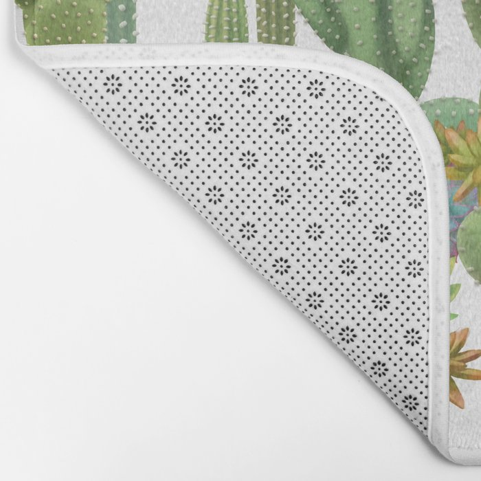 Milagritos Cacti on white background. Bath Mat