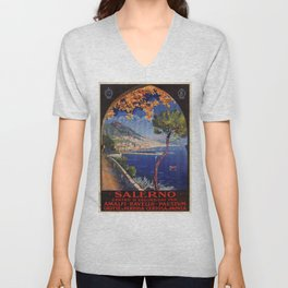 Salerno Italy vintage summer travel ad Unisex V-Neck