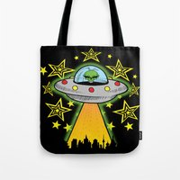 outer space Tote Bags featuring OUTER SPACE by Amber's Realm